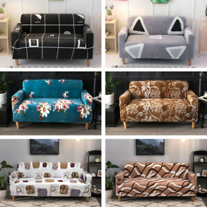 Floral Plush Sofa Covers 1 2 3 4 Seater Couch Slipcover Thick Protector Covers