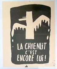 Affiche originale Mai 68 entoilée manifestation étudiant Paris P1513