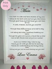Personalised Mothers Day Print Gift Mum Mummy Daughter Family Present Gifts