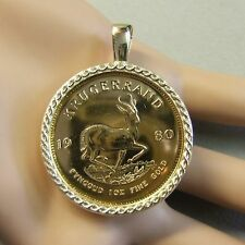 9ct gold New pendant will fit a one Oz fine gold krugerrand bullion coin