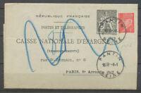 1942 Lettre PNEU, CAISSE D'EPARGNE, 2f. Noir + 1f. Pétain obl. Pantin, SUP X3955