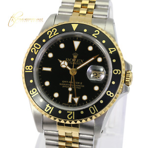 Authentic Rolex Mens GMT-Master II 16713  Black Dial Jubilee Band 40mm Watch