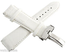 Genuine Techno Master 22mm White Leather Watch Band Strap