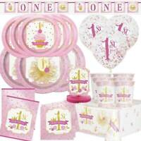 FIRST 1st BIRTHDAY GIRL PINK & GOLD Party Tableware Range Balloons & Decorations