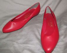 Vintage UNWORN 1980s fun RED leather low cut toe cleavage flats COBBIES 7.5 B