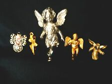 Vintage Lot of 5 Silver & Goldtone ANGELS Pins/ Brooches  ()