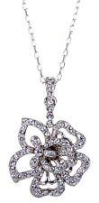 Swarovski Element Crystal Flower Pendant Necklace Rhodium Plated Authentic 7111u
