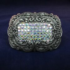 Nickel Belt Buckle Ornate Feather Design Center of Rhinestones  2.25 x 3.25 inch