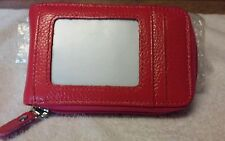 Mens/Womens Fashion Mini  RED Leather Zip Wallet ID Credit Cards Holder New!