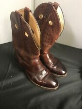 Double H Brown All Leather Buckaroo Stockman Cowboy Boots Mens Size 11 D