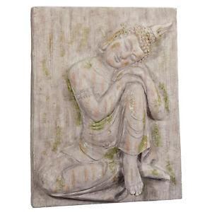 Wandbild XL Buddha Relief Steinbild 50x64cm Magnesia Steinrelief Feng Shui Bild
