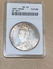 1887 G. Britain 🇬🇧 CROWN Jubilee Head MS 63 SILVER Coin- *PRETTY BLUE & GOLD!