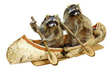 Double Canoeing Raccoons Professional Taxidermy Mounted Animal Statue Home Gift