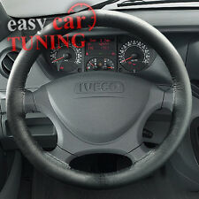 FOR IVECO DAILY 2006-2014 BLACK REAL GENUINE LEATHER STEERING WHEEL COVER FITS