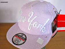 NEW YORK LILAC STRIPE FITTED CAP, NY FLAT PEAK HIP HOP