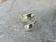 Sterling Silver Wide Hammered Bypass Design Cigar Band Ring NEW Size 7