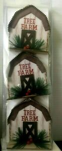 "Holiday Style ""Tree Farm"" White Barn Ornaments Choose 1 or SAVE $ BUY Set Of 3"