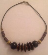 Vantage Sodalite Blue Beaded-Bronze Leather Necklace 18""