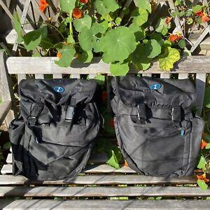 Pair OXFORD 1 Black Bicycle Motor Bike Panniers Bag Pack +Waterproof Rain Covers
