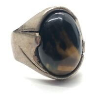 Vintage Sterling Silver Ring 925 Size 8 Tigers Eye Modernist Taxco Mexico