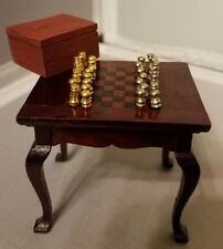 Miniature Dollhouse Chess Game Table & Set Box Pieces Mahogany Wood Furniture