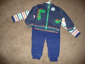 NEW NWT Baby Essentials boys 18 months 3 piece dinosaur jacket outfit set
