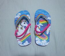 Girl's Unicorn flip flops, multi-color, size 11/12 with ankle strap