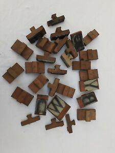 Lot6 tampons XXL encreurs lettres alphabet broderie batik scolaire bois