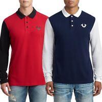 True Religion Men's Horseshoe Logo Long Sleeve Polo Shirt