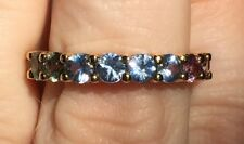 10K YELLOW GOLD ROUND MULTI COLOR RAINBOW SAPPHIRE 3.68CTW ETERNITY ESTATE RING