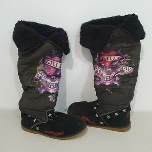 Ed Hardy Boots Love Kills Slowly Black Suede Boots Size US 8 ULTRA RARE