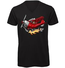 Red Baron Pilot Hand drawn Men's V-Neck Quality T-Shirt Black Medium