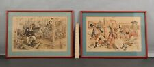 2 Antique 1889 Republican, Benjamin Harrison Elephant Political Cartoon Prints