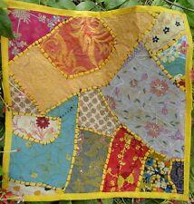 Housse de coussin indien Jaune Patchwork Fait main Multicolore Inde Coton J1