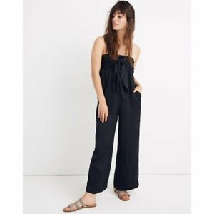 MADEWELL STRAPLESS TIE FRONT JUMPSUIT ROMPER BLACK NWOT : 0