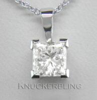0.50ct F SI VG Princess Cut Diamond Solitaire + 18ct White Gold Pendant + Chain