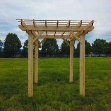 ALEKO Premium Outdoor Wooden Arbor Topped Pergola - 7 x 8 Feet