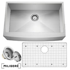 "33""x21""x10"" Country Farmhouse Stainless Steel Single Bowl 16g Apron Sink"