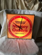 Vintage American Express Light-Up Clock Money Orders Sign