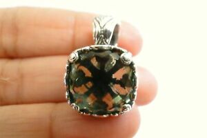 Green Amethyst Solitaire Ornate 925 Sterling Silver Enhancer Bail Pendant