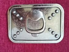 "Beer Bottle Opener Belt Buckle 4"" x 2.75"" silver tone"