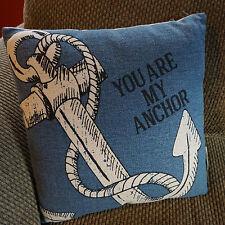 YOU ARE MY ANCHOR Nautical Canvas Linen Sailboat Ship PILLOW Beach Decor NEW