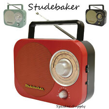 Studebaker SB2000RB AM FM Radio Antique Retro Vintage Red Aux Portable Desk New