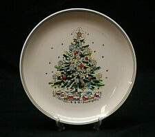 """Christmas Eve Porcelain by Salem 10"""" Dinner Plate Green & Gold Bands Xmas Tree a"""