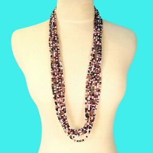 "34"" Multi Strand Pink Multi Color Bali Boho Style Handmade Seed Bead Necklace"