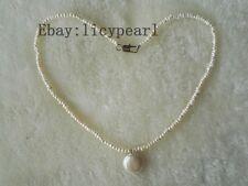 2-3mm weiß barock Perle Halskette & Münzen Perle Anhänger