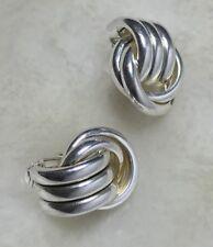 Women Silver Tone Love Knot Clip On Earring