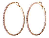 Swarovski Elements Crystal Somerset Hoop Pierced Earrings Gold Authentic 7224v
