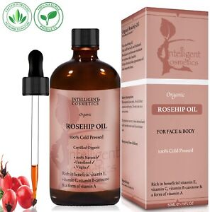 50ML Rosehip Oil Certified Organic 100% Cold Pressed Oil Pure Natural Virgin