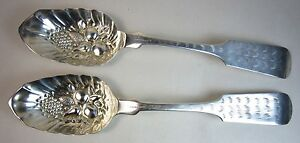 Pair Antique c1850 Wood & Hughes Coin Silver Berry Spoon Lrg Serving 8.875""